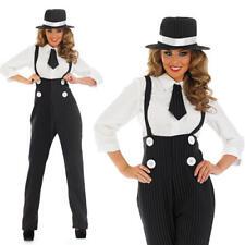 Ladies Womens Black Gangster Pinstripe Fancy Dress Suit Costume 20S Pimp  M