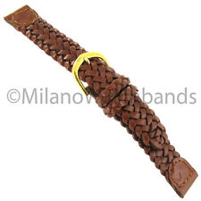 16mm Name Brand Tan Brown Braided Genuine Leather Mens Watch Band LS875