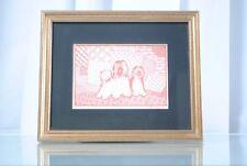 Vintage Tibetan Terrier Jane Reif Framed Dog Artwork Picture Sketch