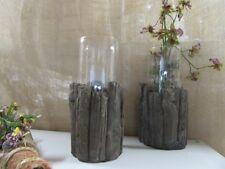 Windlicht ca 28 cm 2-teilig  Stein (Holzoptik) mit Glaseinsatz  Innen- und Außen