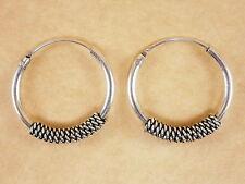 New Oxidized Genuine 925 Sterling Silver Byzantine Bali Twist Hoop Earrings 18mm