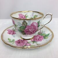 Vintage Royal Stafford England Berkeley Rose Bone China Footed Tea Cup & Saucer