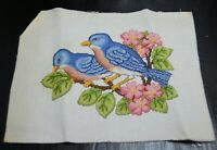 Vtg finished  Cross Stitch Pair of bluebirds