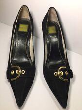 COACH Sarrah Black Suede Shoes Kitten Heels Gold Buckle Pointy Pumps 7M B Career