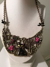 $95 Betsey Johnson Enchanted Forest Cat Owl Half Moon Necklace W-14