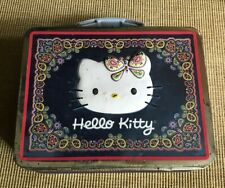 Tin Metal Lunch Snack Toy Box Embossed Sanrio Hello Kitty 2003