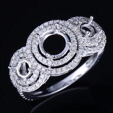 3-Stone Filigree Fine Ring 5-6.75mm Round Semi Mount Silver Real Diamond Jewelry