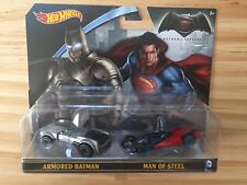 Hot Wheels Batman v's Superman Twin Set NEW Armored Batman & Man of Steel 1:64
