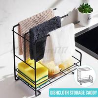 Kitchen Sink Stand Wall Mounted Rag Sponge Storage Caddy Rack Holder Organizer
