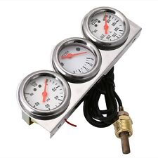 Universal 2'' Oil Pressure Water Voltage Volt Triple Gauge Set Gauges Panel New