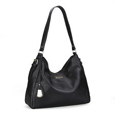 UScarmen Women's Calfskin Leather Hobo H0042 Shoulder Bag BLACK