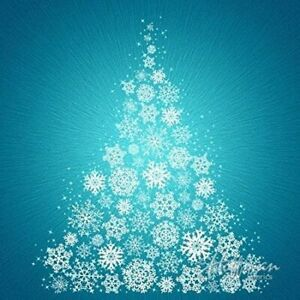 "40"" x 42"" Fabric Panel - Hoffman Supernova Seasons Snowflake Christmas Tree Blue"