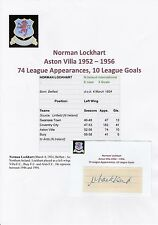 NORMAN LOCKHART ASTON VILLA 1952-1956 RARE ORIGINAL HAND SIGNED CUTTING/CARD