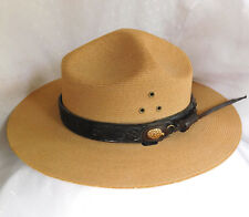 American Park Rangers straw hat Stratton USA leather band embossed USNPS XL 61cm