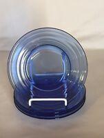 "4 Hazel Atlas Cobalt Blue Moderntone 6 3/4"" Salad Plates"