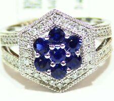 Diseñador 14k ORO MACIZO Natural Diamante Zafiro 1.23ct Anillo De Compromiso