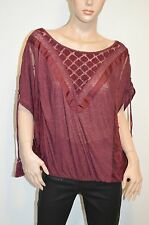 New $98 Free People Berry New Romantics South of the Equator Tassels Top M
