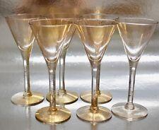 "Scarce Set of 6 Dorothy Thorpe Gold Fleck Wine Glass 6"""