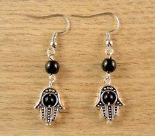 Natural Black Agate Gemstone Hamsa Hand Bohemian Fashion Dangle Earrings # B18