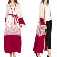 Womens Long Sleeve Maxi Dress Islam Robe Jilbab Dubai Muslim Abaya Open Cardigan