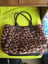 Avon Products Leopard Print Zippered Tote Bag with Faux Leather Handles