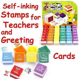 Set of 6 Teachers Stampers Self Inking Reward Stamps Motivation Parents Stickers