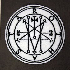 Embroidered ASTAROTH SEAL Patch - Sew/Iron On, White Felt, 3.25 inches, GOETIA