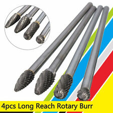4Pcs 1/4'' Shank Double Cut Carbide Rotary Burr Bur Die Grinder Carving Bit Set