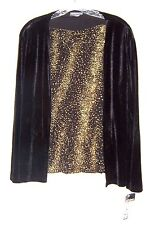 Sz S - NWT Notations Clothing Co. Gold Glitter Topw/attached Black Velvet Jacket
