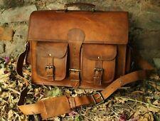 Men's Vintage Leather Satchel School Military Shoulder Bag Messenger Bag