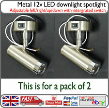 Motorhome 12v LED Reading Spot Light Down Light Metal 3w with Switch x2 - Camper