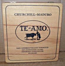 Churchill Maduro Te-Amo San Andres Valley Tobacco Wood Cigar Box 1970's