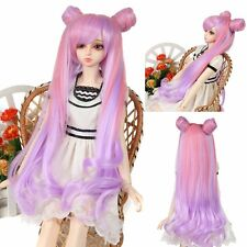 "Pixie BJD Doll Wig 8-9""1/3 SD DZ DOD LUTS Long Pink Purple Curly Wavy Hair Wig"