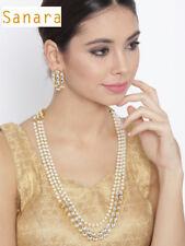 New India 3 Line Long Pearl Rani Haar Kundan Necklace Earring Bollywood Jewelry