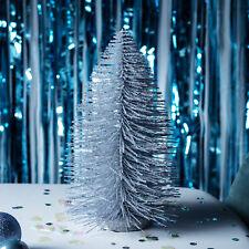 Silver Glitter Christmas Tree Table Decoration Brush Look Indoor 30cm Lights4fun