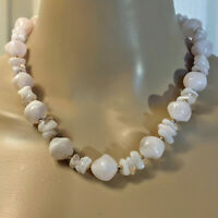 """Vintage Chunky Lucite Pale Pink Beads Beaded Necklace 18"""" VTG Costume Jewelry"""