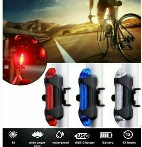 USB Rechargeable Bike Lights Front Rear Hazard Waterproof 5 LED Red White Blue
