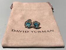 David Yurman Sterling Silver 925 7x7mm Blue Topaz Infinity Earrings NWOT $495
