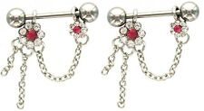 sold as a pair 14 gauge Nipple Shield Rings barbell Crystal Flower