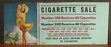 Punchboard Gaming Label Cigarette Sale Elvgren Tail Wind Yellow Dress Hosetop