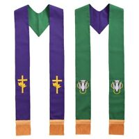 Holy Reversible Stole Green & Purple Clergy Stole with Embroidered Cross Bird