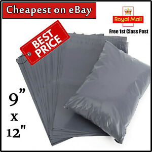 """50 x GREY Mailing Bags 9x12""""(230x300mm) Royal Mail LARGE LETTER Size A4 Value UK"""