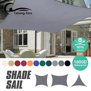 Sun Shade Sail Canopy Waterproof Rectangle Outdoor Patio Pool Canopy UV A2TF