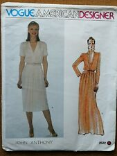 VOGUE AMERICAN DESIGNER PATTERN for DRESS  by JOHN ANTHONY (with label)