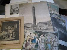 """ENSEMBLE 9 GRAVURES """"MARINES PAYSAGES HISTOIRE""""1680-1820 ANGLAIS MILITAIRE Signé"""