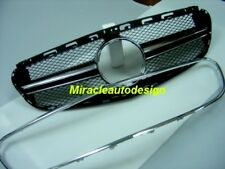 AMG E63 LOOK BLACK FRONT GRILLE + CHROME FRAME FOR 2014-16 MERCEDES W212 E-CLASS