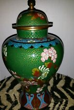 Antique Green Chinese Cloisonne Bronze Enamel Froral Vases 10inch Tall