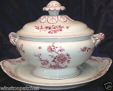 MOTTAHEDEH VISTA ALEGRE PINK PEONY TUREEN & LID WITH UNDER PLATE 98 OZ PINK TRIM