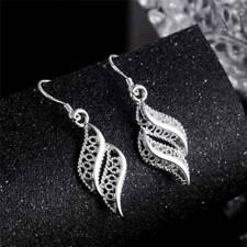 Vintage Silver Crystal Jewelry Dd Hollow Leaf Women Elegant Fashion Earrings