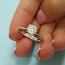 1.01 Carat Round Diamond Solitair Engagement Ring 14K White Gold Sizable